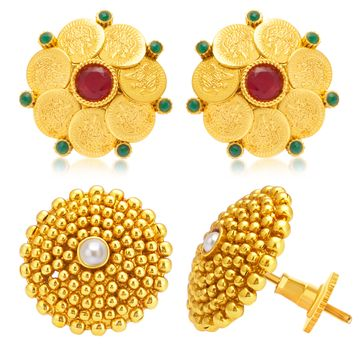 SUKKHI | Sukkhi Ethnic Gold Plated Set of 2 Pair Temple Stud Earring Combo For Women