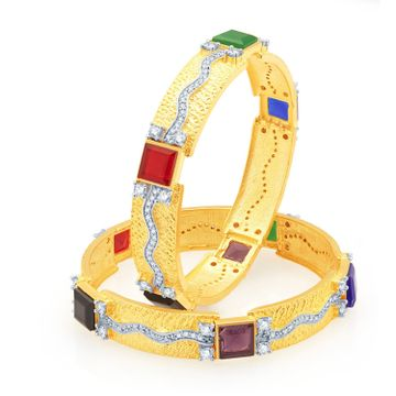 SUKKHI | Sukkhi Pretty Gold And Rhodium Plated Cz Bangles