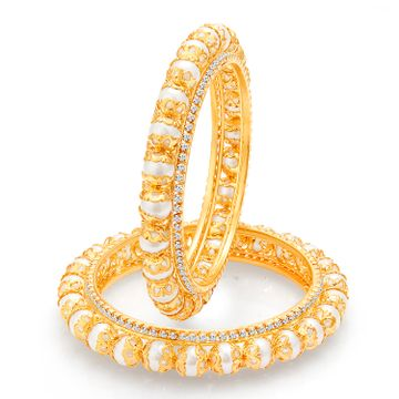 SUKKHI | Sukkhi Shimmering Gold Plated Pearl Bangles (Set of 2) For Women