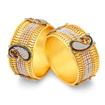 SUKKHI | Sukkhi Stylish Pearl Gold Plated Peacock Meenakari Bangles Set of 2 for Women