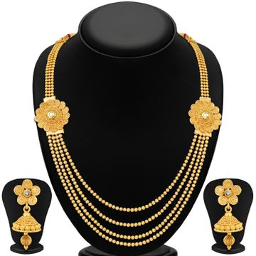 SUKKHI | Sukkhi Floral Gold Plated Kundan Multi-String Necklace Set For Women