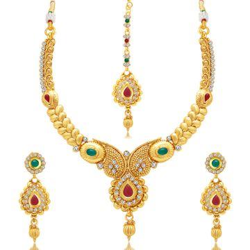 SUKKHI | Sukkhi Gorgeous Gold Plated Austrian Diamond Choker Necklace Set For Women
