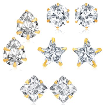 SUKKHI | Sukkhi Fancy Gold Plated Cubic Zirconia Set of 4 Stud Earring Combo for Women