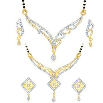 SUKKHI | Sukkhi Luxurious Gold Plated Cz Set Of 2 Mangalsutra Set Combo For Women