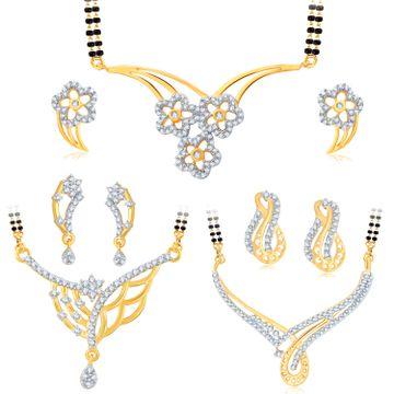 SUKKHI | Sukkhi Resplendent Gold Plated Cz Set Of 3 Mangalsutra Set Combo For Women