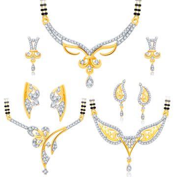 SUKKHI | Sukkhi Lavish Gold Plated Cz Set Of 3 Mangalsutra Set Combo For Women