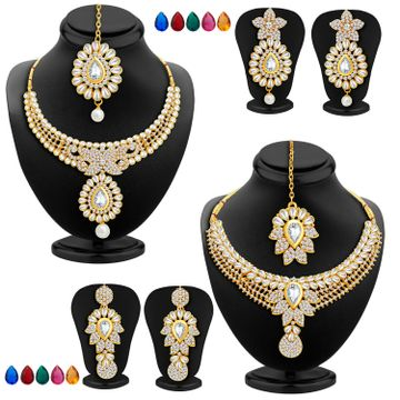SUKKHI | Sukkhi Royal Kundan Gold Plated Austrian Diamond Choker Necklace with Set of 10 Changeable Stone Combo For Women
