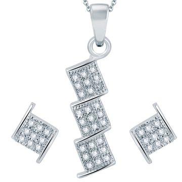 SUKKHI | Sukkhi Stylish Rhodium Plated Micro Pave Setting Cz Pendant Set