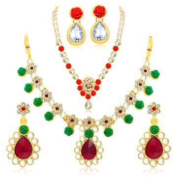 SUKKHI   Sukkhi Cluster Gold Plated Ad Set Of 2 Necklace Set Combo For Women