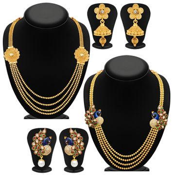 SUKKHI | Sukkhi Blossomy Pearl Gold Plated Kundan Peacock Meenakari Multi-String Necklace Set Combo For Women