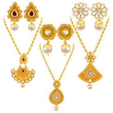 SUKKHI | Sukkhi Fancy Jalebi Gold Plated Set Of 3 Necklace Set Combo For Women
