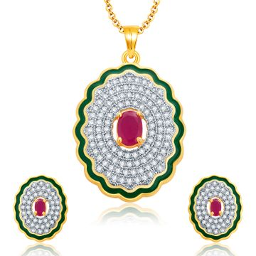 SUKKHI | Sukkhi Alluring Gold And Rhodium Plated Ruby Cz Pendant Set For Women
