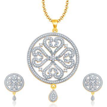 SUKKHI | Sukkhi Dangling Gold And Rhodium Plated Cz Pendant Set For Women
