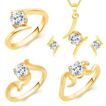 SUKKHI | Sukkhi Modern Gold Plated Solitaire Set Of 3 Ladies Ring & 1 Pendant Set Combo For Women