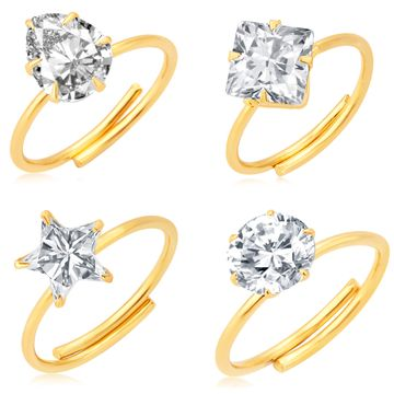 SUKKHI | Sukkhi Dazzling Gold Plated Solitaire Set Of 4 Ladies Ring Combo For Women