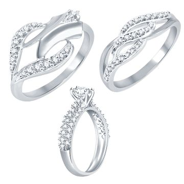 SUKKHI | Sukkhi Exotic Rhodium Plated Cz Set Of 3 Ring Combo For Women