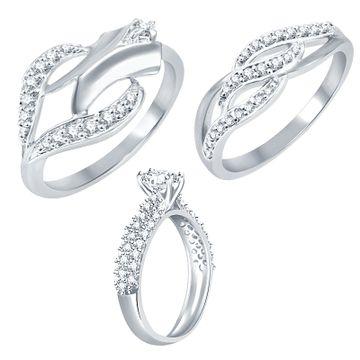 SUKKHI | Sukkhi Exotic Rhodium Plated Cz Set Of 3 Ring Combo For Women