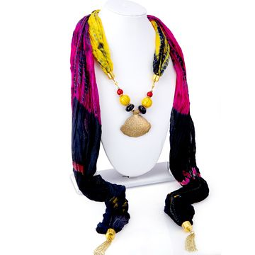SUKKHI | Sukkhi Excellent Silk Detachable Scarf Necklace With Chain For Women