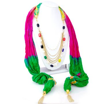 SUKKHI | Sukkhi Sparkling Silk Detachable Scarf Necklace With Chain For Women