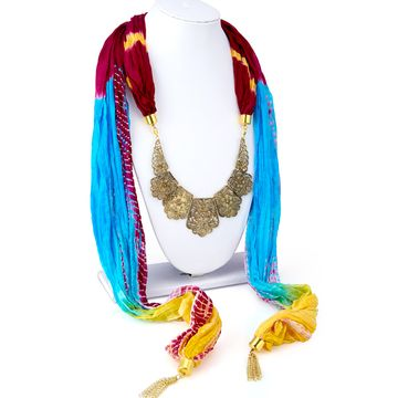SUKKHI | Sukkhi Exquisite Silk Detachable Scarf Necklace With Chain For Women