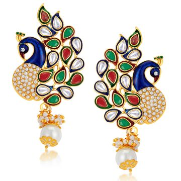 SUKKHI | Sukkhi Glorious Pearl Gold Plated Kundan Peacock Meenakari Dangle Earring for Women