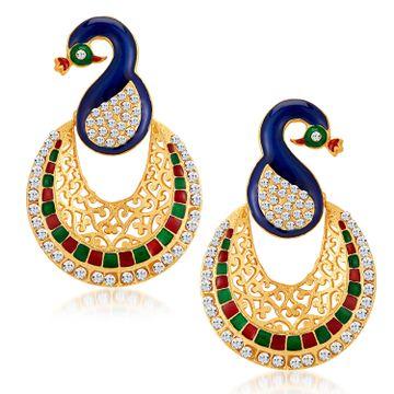 SUKKHI | Sukkhi Glamorous Gold Plated Austrian Diamond Peacock Meenakari Dangle Earring for Women
