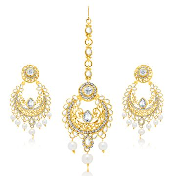 SUKKHI | Sukkhi Charming Gold Plated Ad Earring With Mangtikka Set For Women
