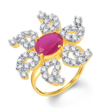 SUKKHI | Sukkhi Glorious Gold And Rhodium Plated Cz And Ruby Studded Ring