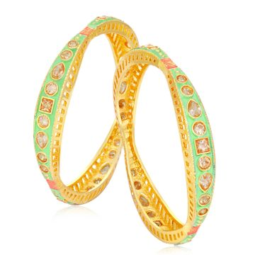 SUKKHI | Sukkhi Fascinating LCT Gold Plated Green Mint Meena Collection Bangle Set For Women (Set of 2)