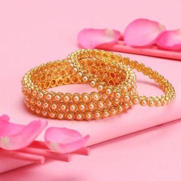 SUKKHI | Sukkhi Shimmering Gold Plated Bangle For Women  (Set of 4)