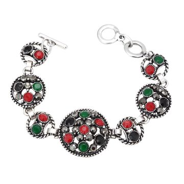 SUKKHI | Sukkhi Traditional Oxidised Silver Bracelet With Multi Colored Stones For Women