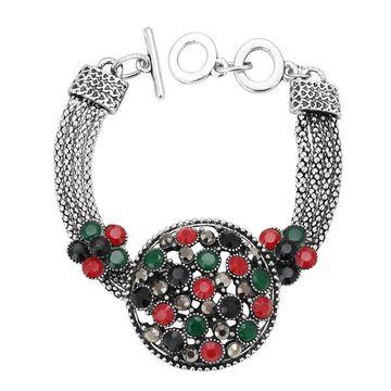SUKKHI   Sukkhi Pretty Oxidised Silver Bracelet With Multi Colored Stones For Women