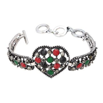 SUKKHI   Sukkhi Heart Shape Oxidised Silver Bracelet With Multi Colored Stones For Women
