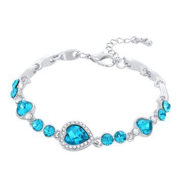SUKKHI | Sukkhi Trendy Valentine Heart Rhodium Plated Aqua Blue Bracelet for women