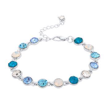 SUKKHI | Sukkhi Astonish Aqua Blue Round Crystal Stone Rhodium Plated Bracelet for Women