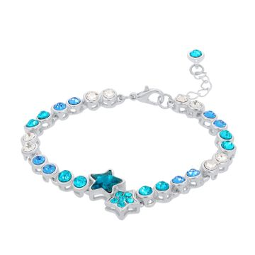 SUKKHI | Sukkhi Lavish Star Crystal Stone Rhodium Plated Aqua Blue Bracelet for Women