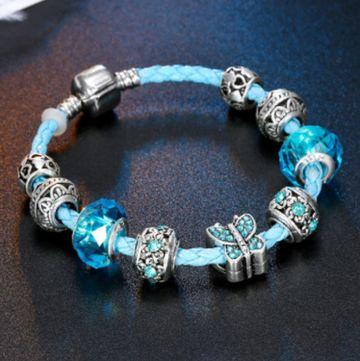 SUKKHI | Sukkhi Exclusive Crystal Stone Rhodium Plated Aqua Blue Bracelet for Women