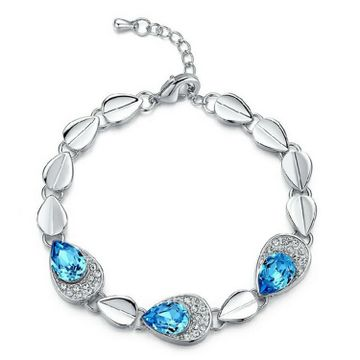 SUKKHI | Sukkhi Fashion Pear Crystal Stone Rhodium Plated Aqua Blue Bracelet for Women