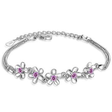SUKKHI | Sukkhi Dazzling Adjustable Pink Crystal Rhodium Plated Bracelet for Women