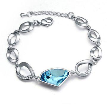 SUKKHI | Sukkhi Glimmery Adjustable Crystal Rhodium Plated Aqua Blue Bracelet for Women