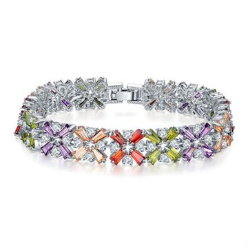 SUKKHI   Sukkhi Shimmering Adjustable Crystal Multi Colour Rhodium Plated Bracelet for Women