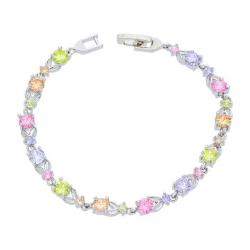 SUKKHI   Sukkhi Lavish CZ Colourful Rhodium Plated Bracelet for Women