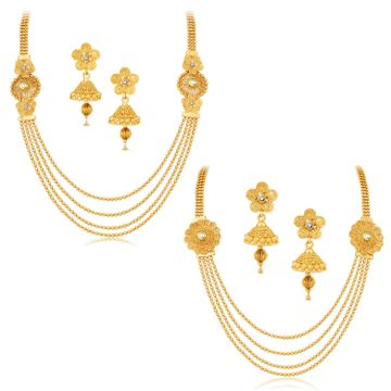 SUKKHI | Sukkhi Dazzling Jalebi 4 String Gold Plated Set Of 2 Necklace Set Combo For Women