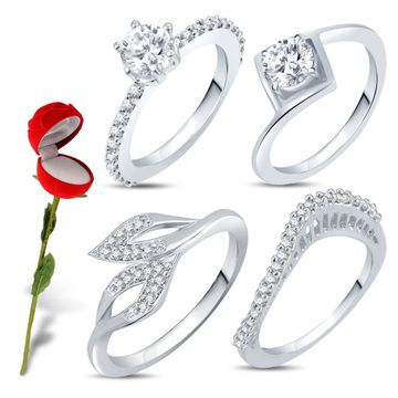 SUKKHI | Sukkhi Valentine Collection Incredible Rhodium Plated Cz Combo With Rose Box For Women Pack Of 4