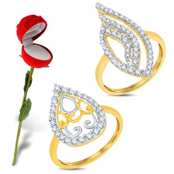 SUKKHI   Sukkhi Valentine Collection Delightful Gold & Rhodium Plated Cz Combo With Rose Box For Women Pack Of 2