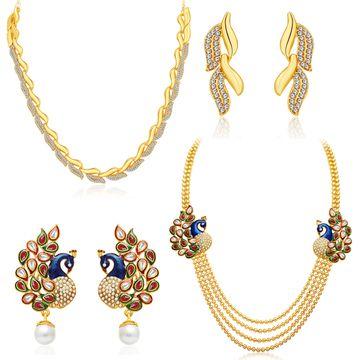 SUKKHI | Sukkhi Gleaming Pearl Gold Plated Peacock Meenakari Long Haram Necklace Set Combo For Women