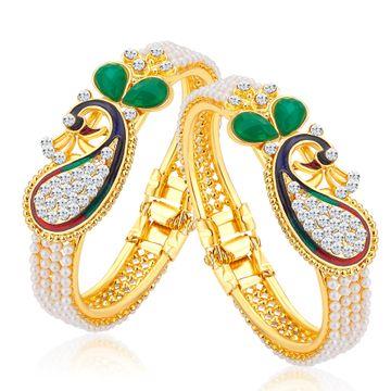SUKKHI | Sukkhi Glittery Pearl Gold Plated Peacock Meenakari Austrian Diamond Kada Combo For Women