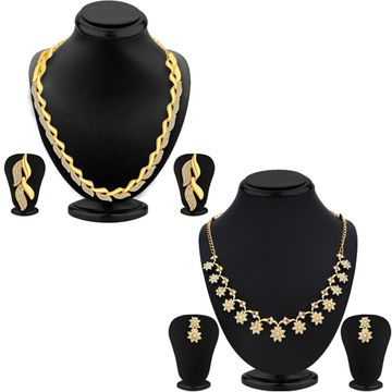 SUKKHI | Sukkhi Modish Gold Plated Austrian Diamond Necklace Set Combo For Women
