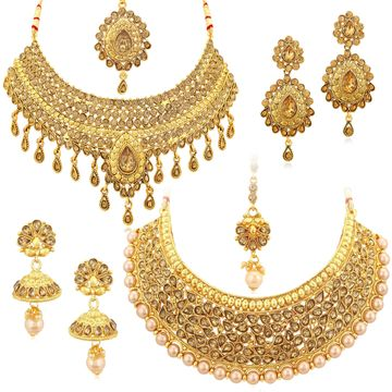 SUKKHI | Sukkhi Sparkling LCT Gold Plated Pearl Choker Necklace Set Combo For Women