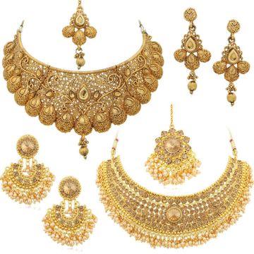 SUKKHI | Sukkhi Glamorous LCT Gold Plated Pearl Choker Necklace Set Combo For Women